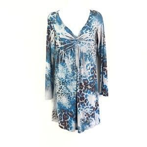 Disorderly Conduct Blue/Gray Bohemian Print Dress